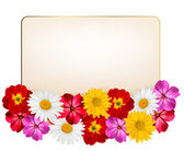 Holiday background with a paper greeting card and flowers. Vecto — Stock Vector