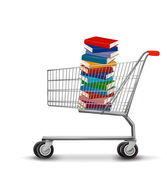 Shopping cart with a stack of books. Vector — Stock Vector