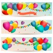 Holiday banners with colorful balloons. Vector. — Stock Vector #48159689