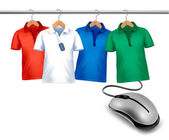 Different hangers with shirts and a computer mouse. Concept of e — Stock Vector