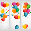 Holiday banners with colorful balloons. Vector. — Stock Vector #50963787