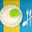 Picnic disposable dishware setting — Stock Photo