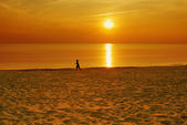 Colourful sunset on a beach. Silhouette of a running child — Stock Photo