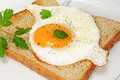 Toast with fried egg and parsley on a white plate — Stock Photo
