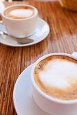 Coffee cappuccino croissant — Stock Photo