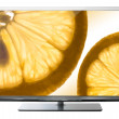 Tv with fruit on screen — Stock Photo