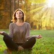 Beautiful young girl meditating in autumn park — Stock Photo #37342721