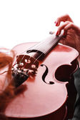 Young girl practicing the violin — Stock Photo