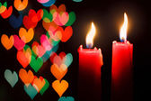 St Valentine's day greeting card with candle and hearts — Stock Photo