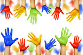 Colourful hands isolated on white — Stock Photo
