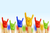 Hands of different colors — Stock Photo