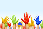 Hands of different colors. cultural and ethnic diversity — Stock Photo