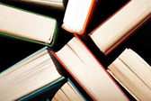 Old and used hardback books or text books seen from above — Stock Photo