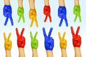 Hands of different colors. cultural and ethnic diversity — Foto de Stock