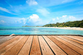 Jetty, beach and jungle - vacation background — Stok fotoğraf