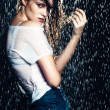 Young beautiful brunette woman posing in wet fashionable clothes — Stock Photo #46417227