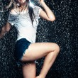 Young beautiful brunette woman posing in wet fashionable clothes — Stock Photo #46417235