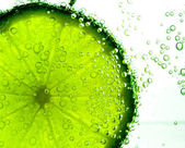 Lime Slice in Clear Fizzy Water Bubble — Stock Photo