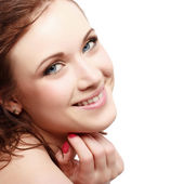 Beautiful face of young adult woman — Stock Photo