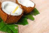 Coconut on the sand beach — Stock Photo