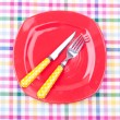 Empty plate,fork and knife — Stock Photo