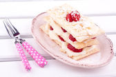 Mille feuille cake with strawberry,puff cake — Stock Photo