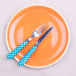 Stock Photo: Empty plate,knife and fork