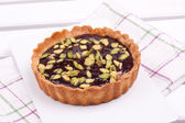 Chocolate tart with pistachio — Stock Photo