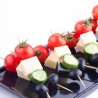 Stock Photo: Appetizers with cheese,tomato,cucumber and olive