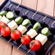 Appetizers with cheese,tomato,cucumber and olive — Zdjęcie stockowe