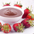Chocolate fondue and strawberry — Stock Photo #25019753