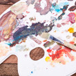 Palette and brush — Stock Photo