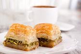 Baklava and turkish coffee — Stock Photo