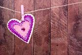 Forma de coração de madeira — Fotografia Stock