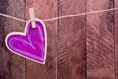 Ahşap kalp şekli — Stok fotoğraf