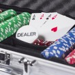 Poker case with cards and chips — Stock Photo #42339663