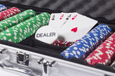 Poker case with cards and chips — Stock Photo