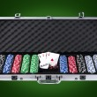 Poker case with chips and cards with path — Stock Photo