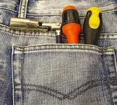 Verktyg och jeans ficka — Stockfoto