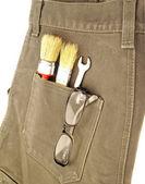 Kot arka cebinde çalışma araçları — Stok fotoğraf