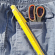 Tools and jeans pocket - Stock Photo