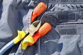 Tasca strumenti e jeans — Foto Stock