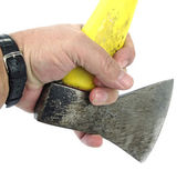 Axe with hand — Stock Photo
