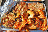 The sausage, wings and the pork neck on grilu — Stock Photo