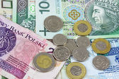 Polish zloty PLN currency - banknotes and coins — Stock Photo