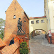 Street view of the old town with the monument to Polish uhlan in Grudziadz, Poland — Stock Photo