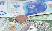 Polish zloty (PLN) currency - banknotes and coins — Stock Photo