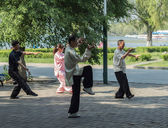 Morning exercises - tai chi chuan — Stock Photo