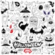 Постер, плакат: Halloween monsters doodles