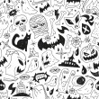Halloween monsters - seamless background — Stock Vector